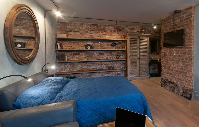 Оформление спальни-гостиной в стиле лофт
