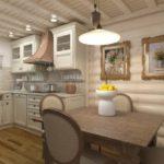 Классическая деревянная кухня в молочном цвете