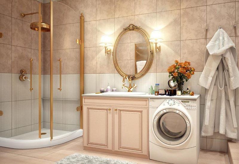 Интерьер модной ванной комнаты в классическом стиле