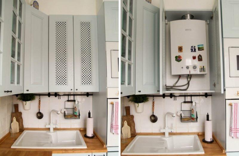 Пример монтажа газовой колонки в шкафу кухонного гарнитура