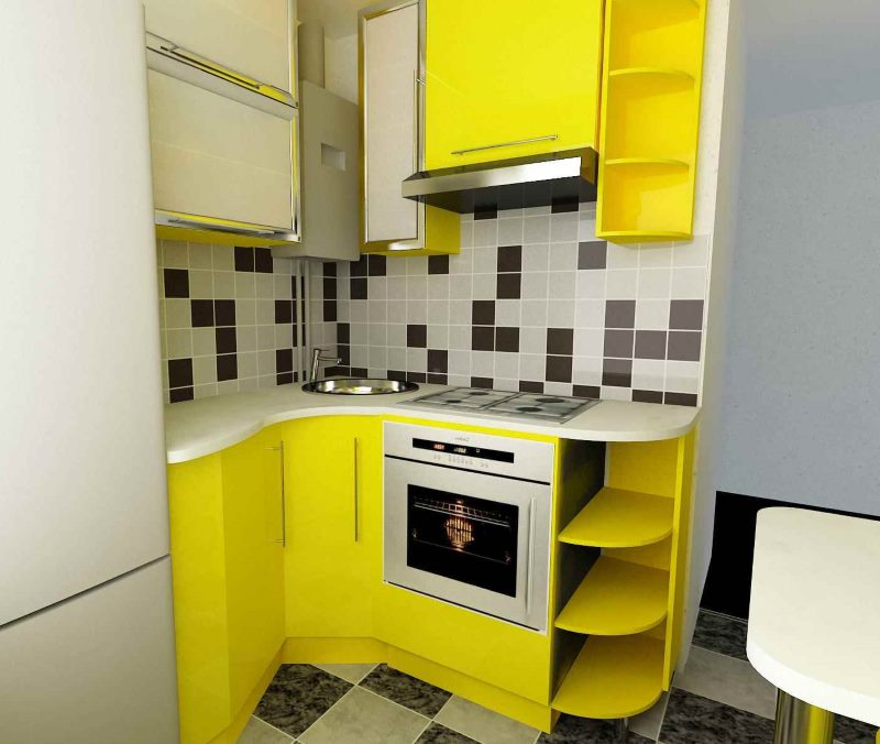 Желтый кухонный гарнитур в кухне хрущевки