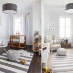 Полосатый коврик на полу детской