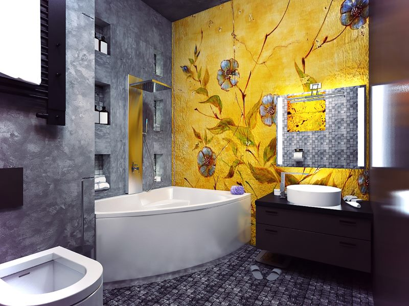 Оформление ванной комнаты в контрастных цветах