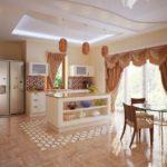 Шторы в интерьере кухонного помещения
