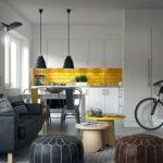 Контрастные сочетания цветов в кухне частного дома
