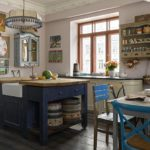Синий цвет в дизайне кухни кантри