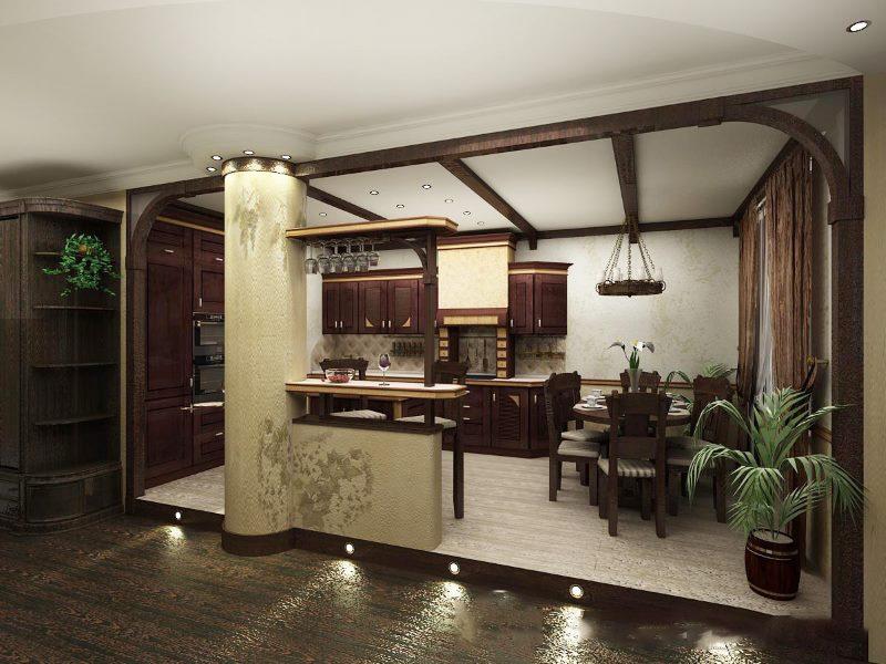 Зонирование кухни-студии подиумом