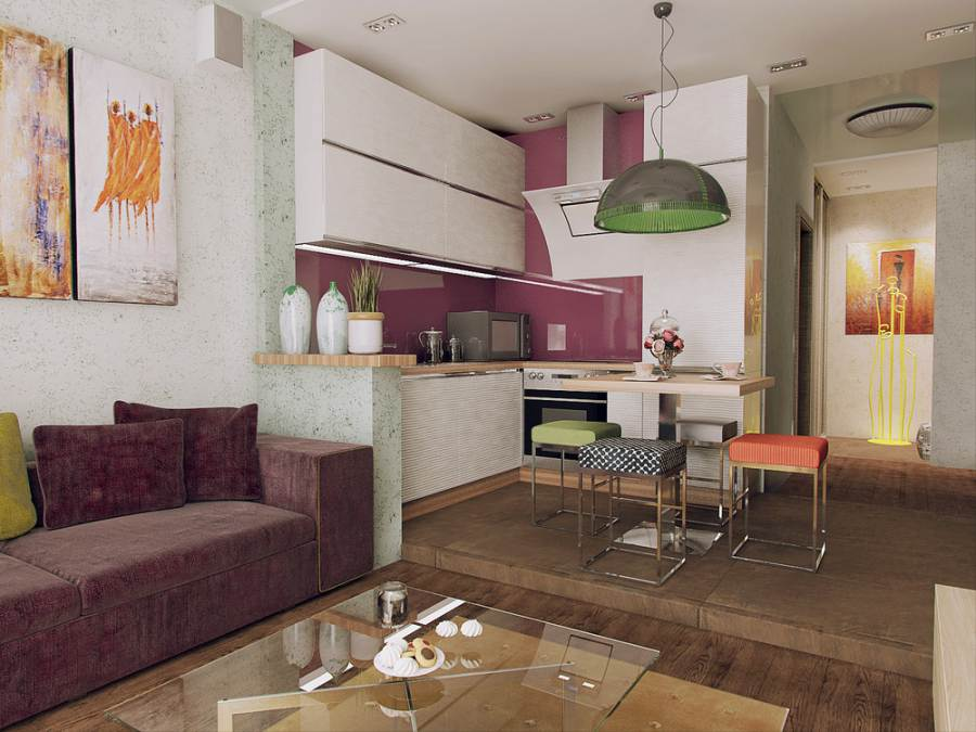 Дизайн кухни-студии с рабочей зоной на подиуме