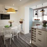 Кухня, объединенная с балконом в стиле прованс