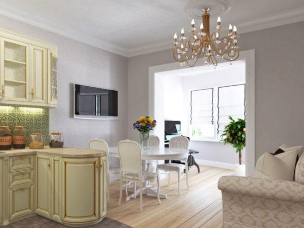 Кухня, совмещённая с балконом, в стиле классики