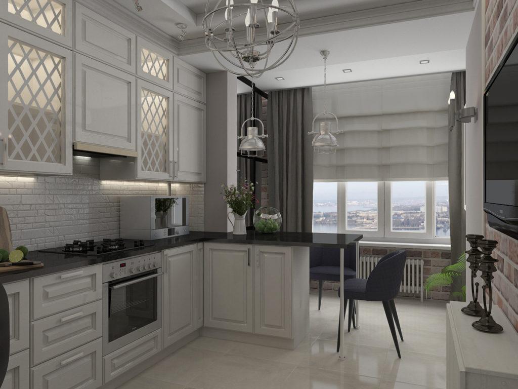 Дизайн кухни площадью в 12 кв метров после объединения с балконом
