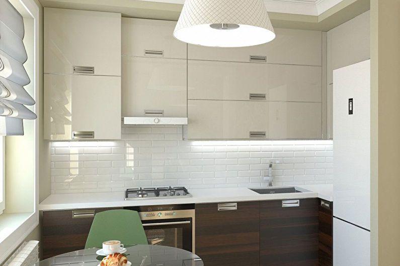 Яркая подсветка рабочей зоны кухни с керамическим фартуком
