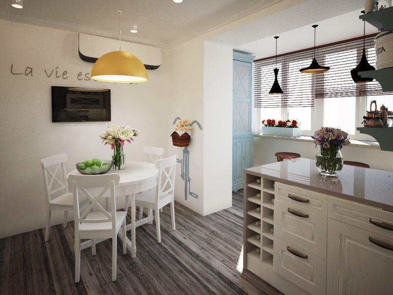 Обеденная зона в стиле прованс на кухне, совмещенной с балконом