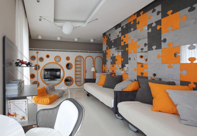 Оформление стены в стиле лего в комнате двух мальчиков