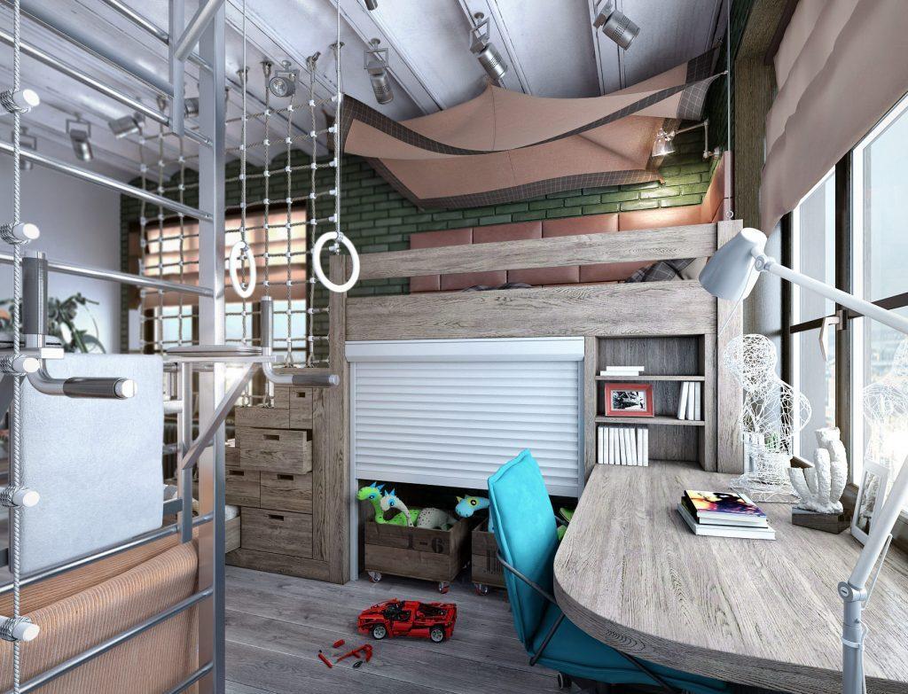 Дизайн детской комнаты в индустриальном стиле