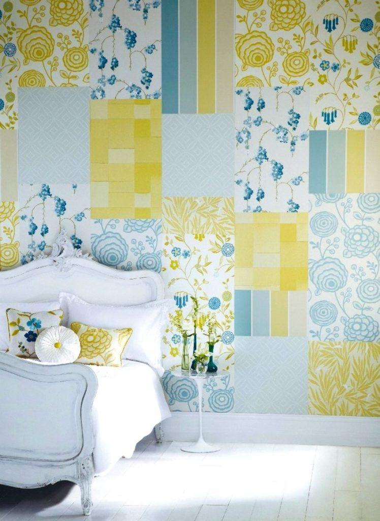 Стена над изголовьем кровати с кусками различных обоев