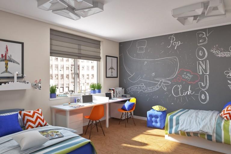 Организация места для учебы перед окном детской комнаты