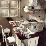 Мини кухня с барной стойкой в два уровня