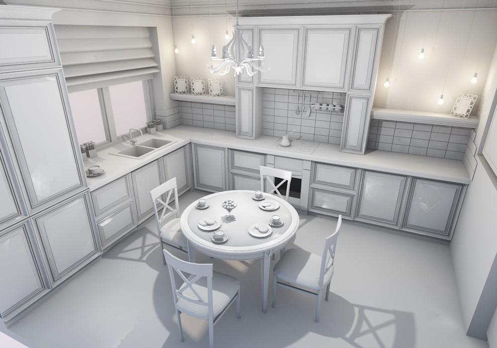 Проект кухни в сером цвете