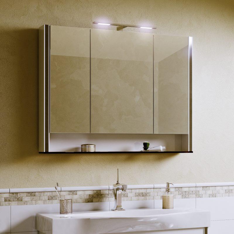 Фото подвесного шкафа с зеркалом для ванной комнаты
