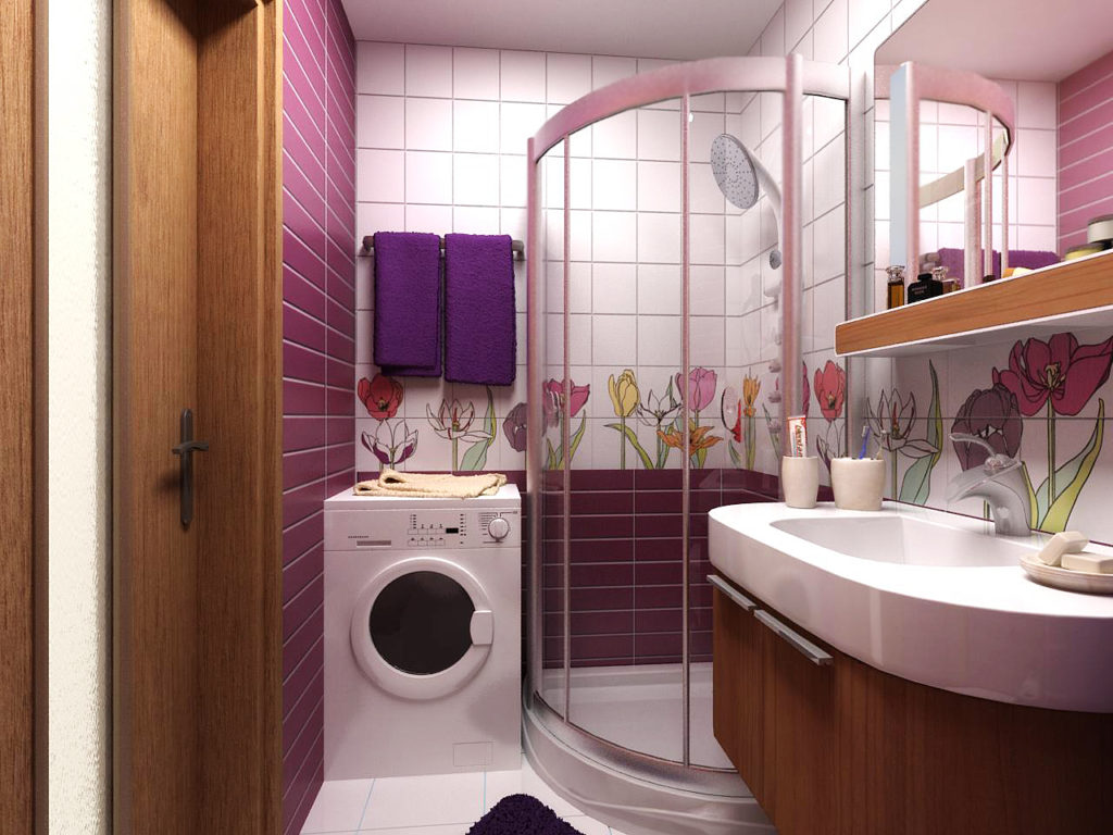 Стиральная машина в интерьере небольшой ванной комнаты