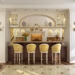 Необычная кухня в стиле модерн с барной стойкой