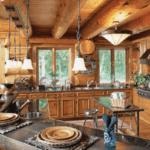 Необычный дизайн уютной кухни в стиле кантри с барной стойкой неправильной формы