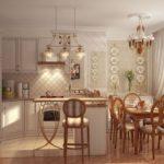 Нежная и уютная кухня с большим окном в стиле прованс