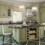 Нежные цветочные обои и оливковый кухонный гарнитур для интерьера прованс