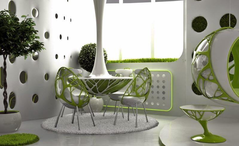Обеденная зона на кухне в стиле бионика