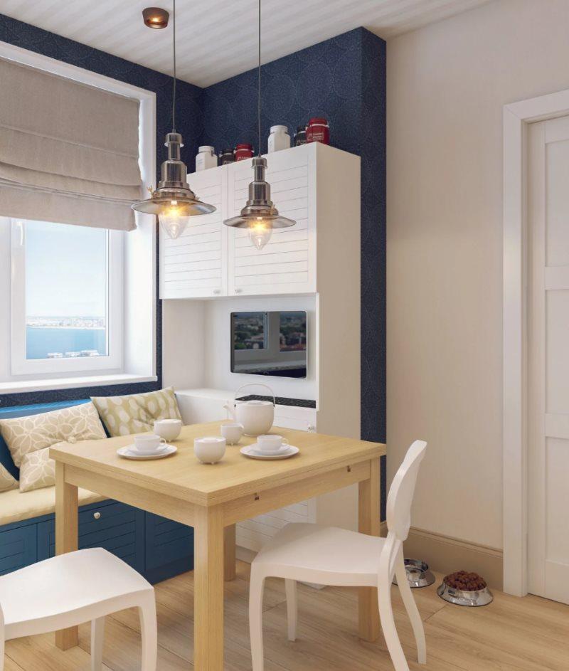 Сочетание белого и синего цветов в дизайне кухни