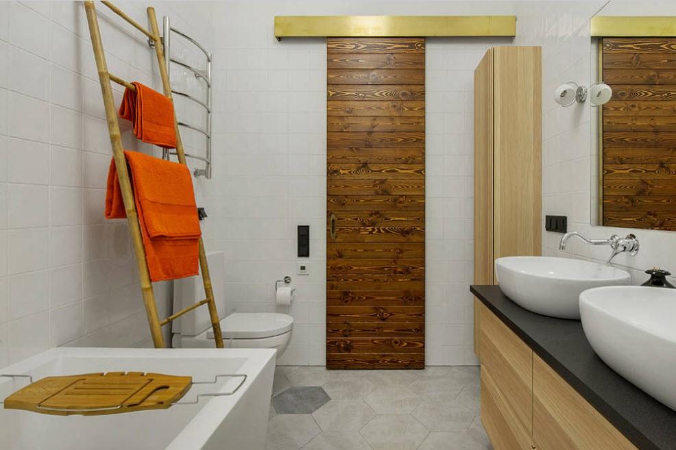 Оранжевый цвет в дизайне модной ванной комнаты