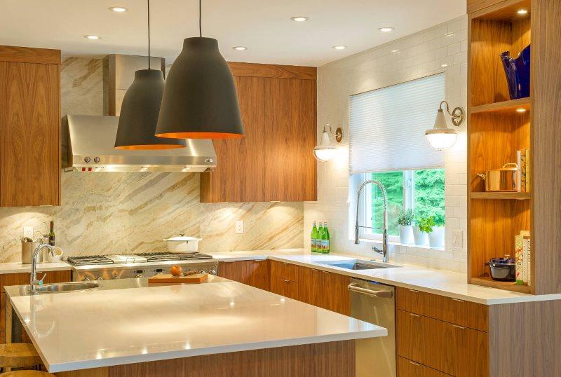 Пример хорошего освещения кухонного пространства