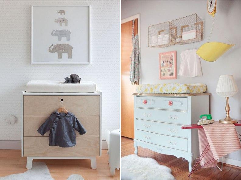 Варианты пеленального столика в комнате для младенца