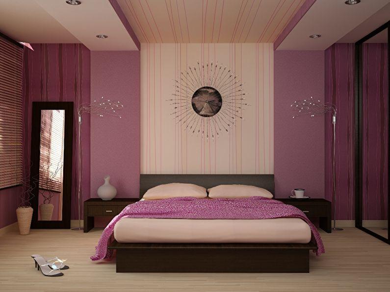 Интерьер современной спальни с двумя разновидностями обоев