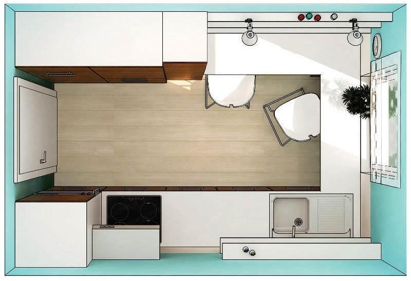 План-схема размещения мебели на маленькой кухне
