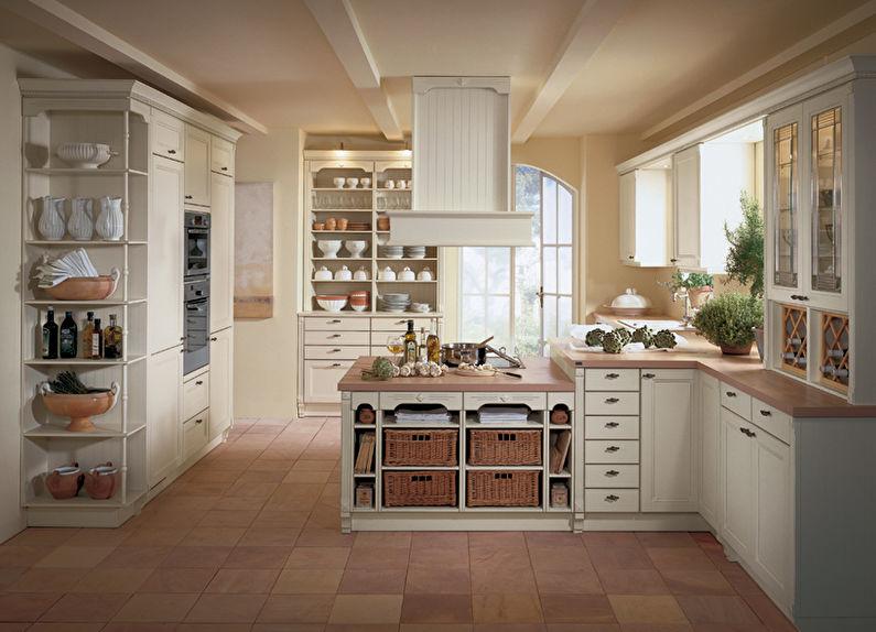 Керамический пол на кухне деревенского дома