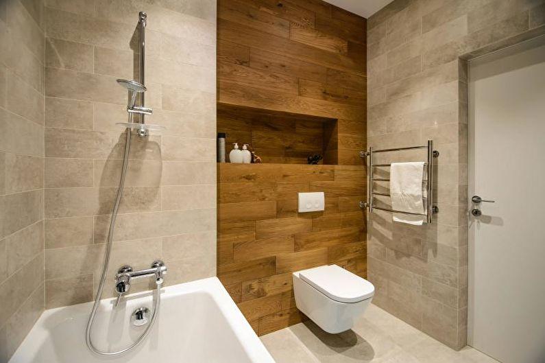 Декорирование фальш-стены в ванной натуральной древесиной