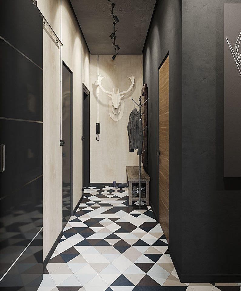 Контрастные стены в коридоре площадью в 4 кв метра