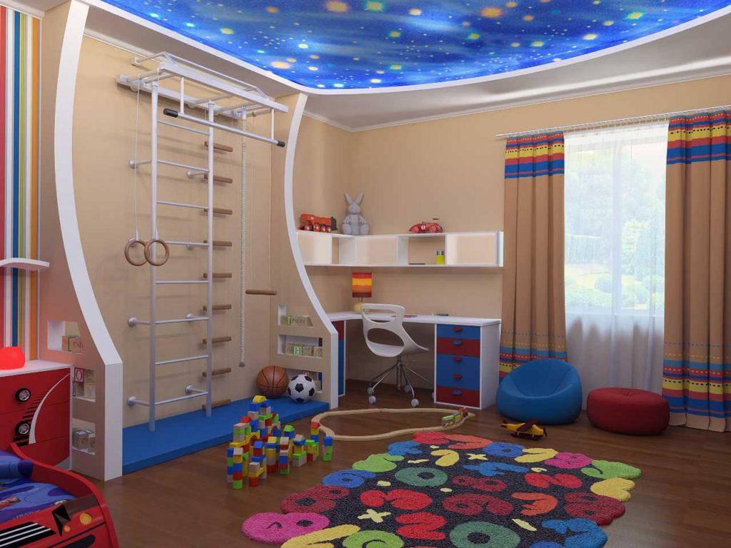 Потолок в детской комнате с изображением космоса