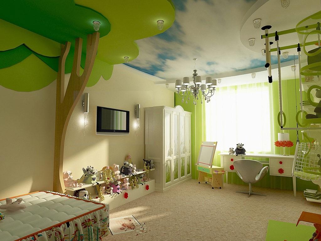 Оливковый потолок в детской комнате