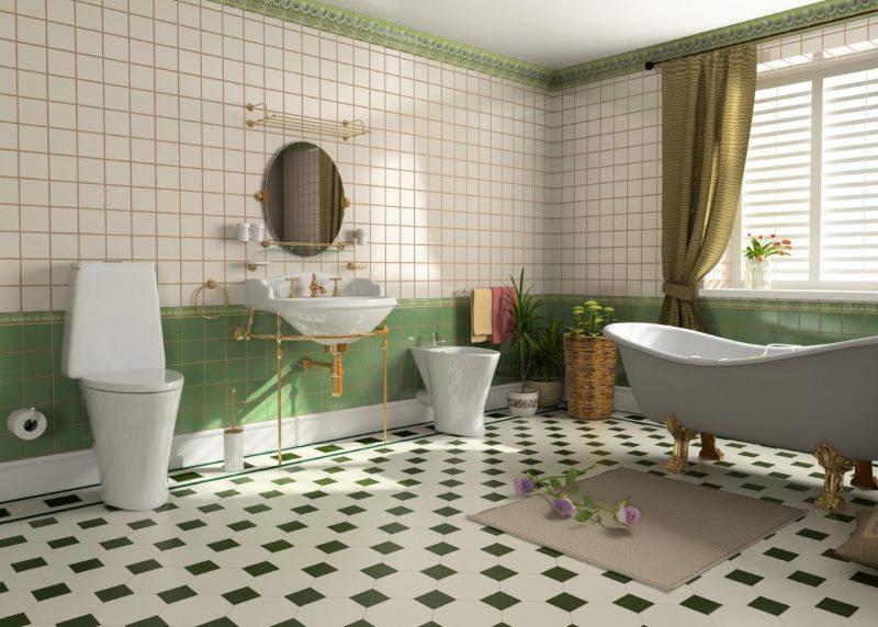 Зеленая плитка в ванной комнате стиля ретро