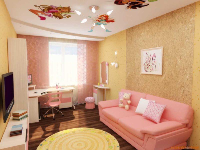 Интерьер детской комнаты в розовых оттенках