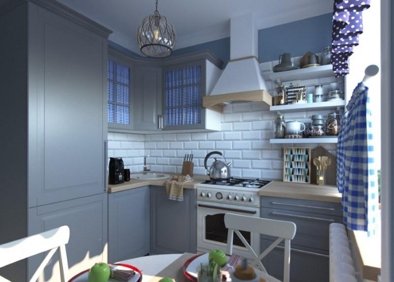 Интерьер кухни в стиле прованс с преобладанием серых и голубых оттенков