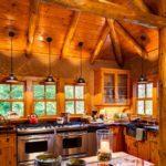 Шикарная кухня в эко стиле в деревянном доме