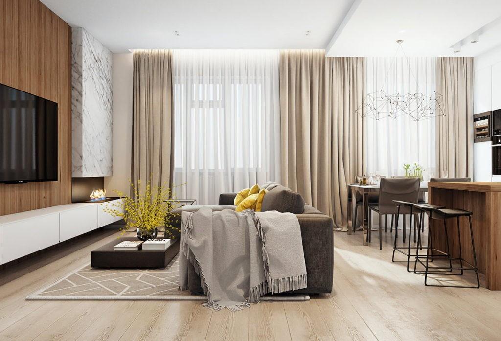Разделение совмещенной кухни с помощью дивана