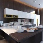 Сочетание белого и венге для небольшой современной кухни