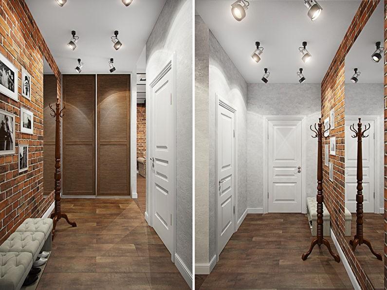 Организация освещения коридора в стиле лофт