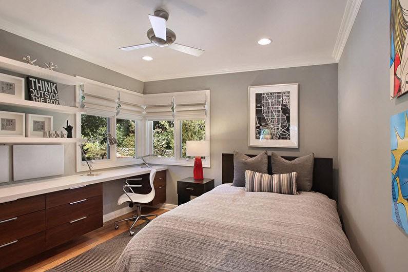 Дизайн комнаты для мальчика в оттенках серого цвета