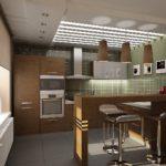 Современная кухня в коричневом цвете с барной стойкой вместо обеденной зоны